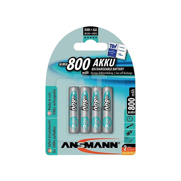 Akkuzelle 800 mAh 1,2V Micro NiMH ANSMANN 4St./Blister