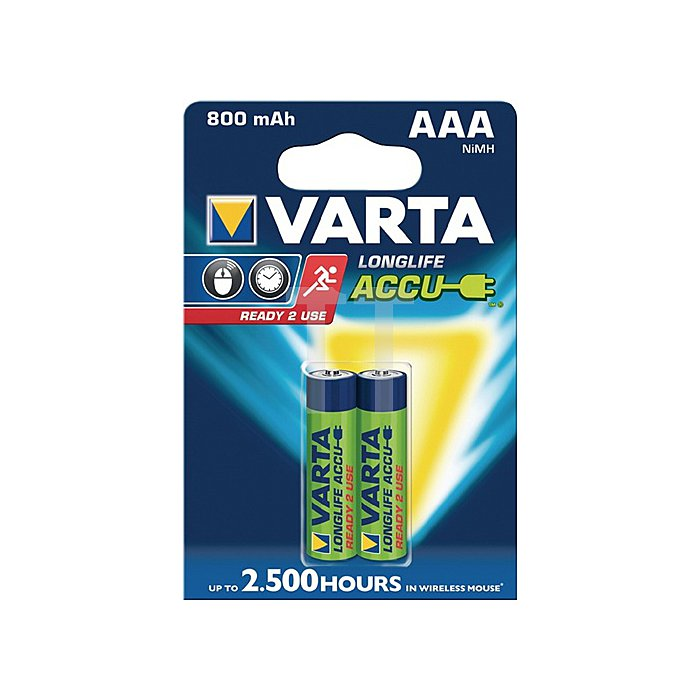 Akkuzelle Micro 800mAh 1,2V NiMH VARTA 2St./Blister