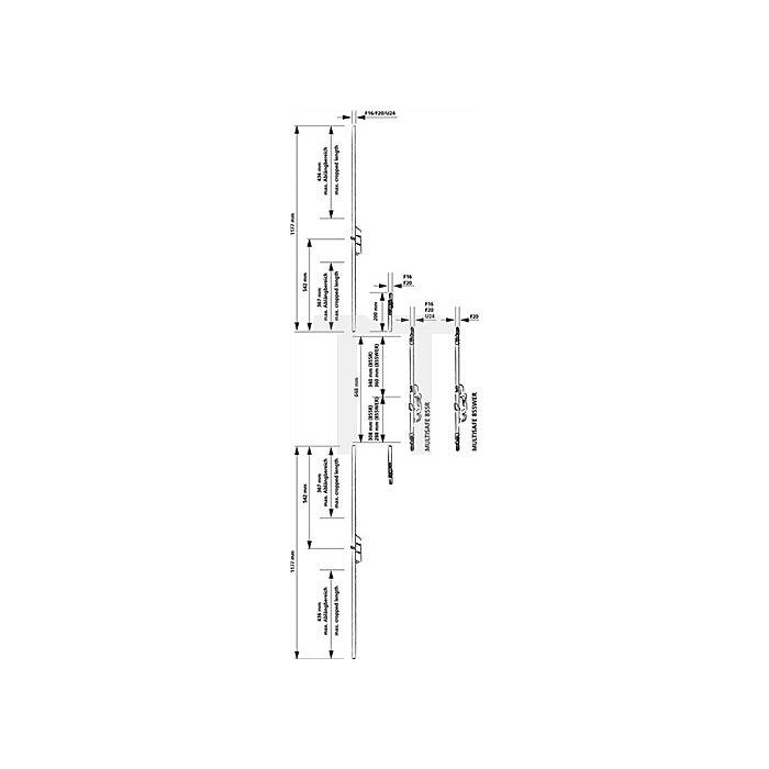 Anschlussstulp Multisafe MA F-Stulp 16mm 1 Bolzenriegel ablängbar Länge 1177mm