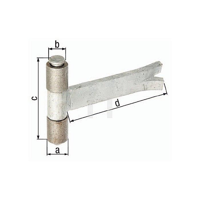 Anschweissband Ø27xØ15x90x170mm Stahl roh m. Maueranker z. Einbetonieren GAH