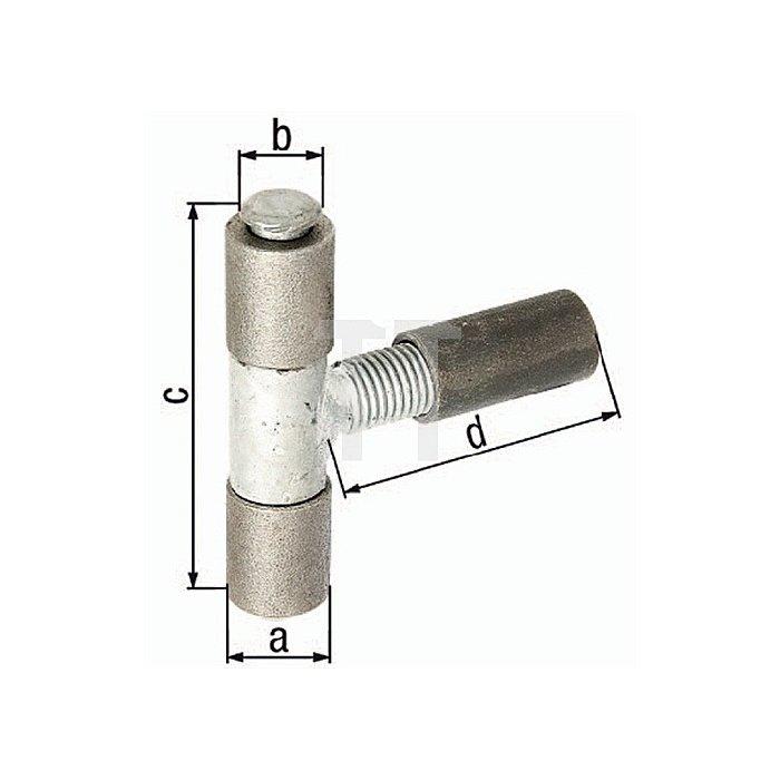 Anschweissband Ø27xØ15x90x92mm Stahl roh Stift u. Mittelteil verz.