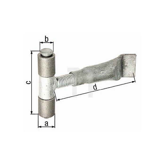 Anschweissband Ø32xØ20x95x190mm Stahl,Stift,Mittelteil,Maueranker verz.