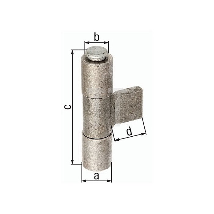 Anschweissband Ø33xØ20x98x25mm Stahl roh GAH