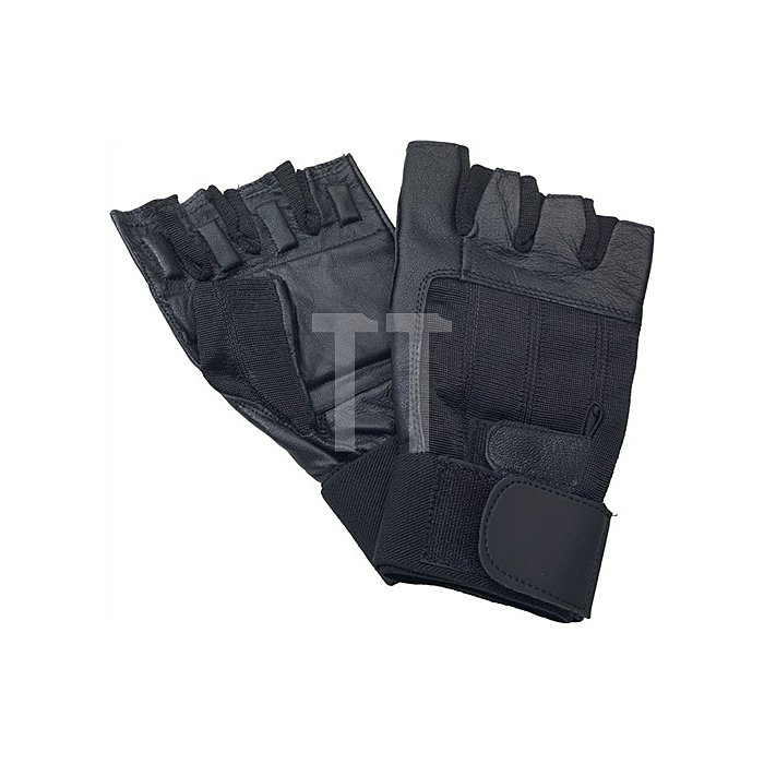 Antivibrationshandschuhe XL 2xKlett lang o.Fingerkuppen Leder/Trikot