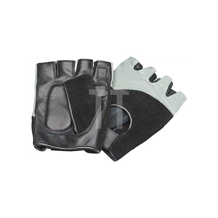 Antivibrationshandschuhe XL m.Klett kurz o.Fingerkuppen Leder/Trikot