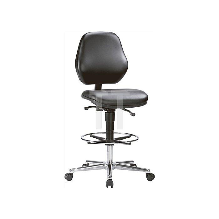 Arbeitsdrehstuhl Basic mit Rollen und Fußring Kunstleder H.650-910mm