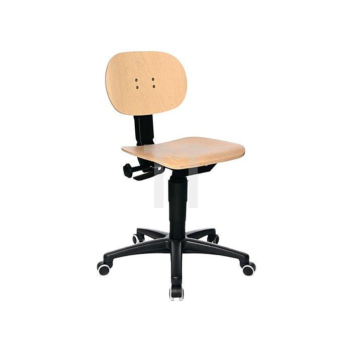 Arbeitsdrehstuhl mit Rollen Buche Sitz-H. 420-550 mm mit Kontaktrückenlehne