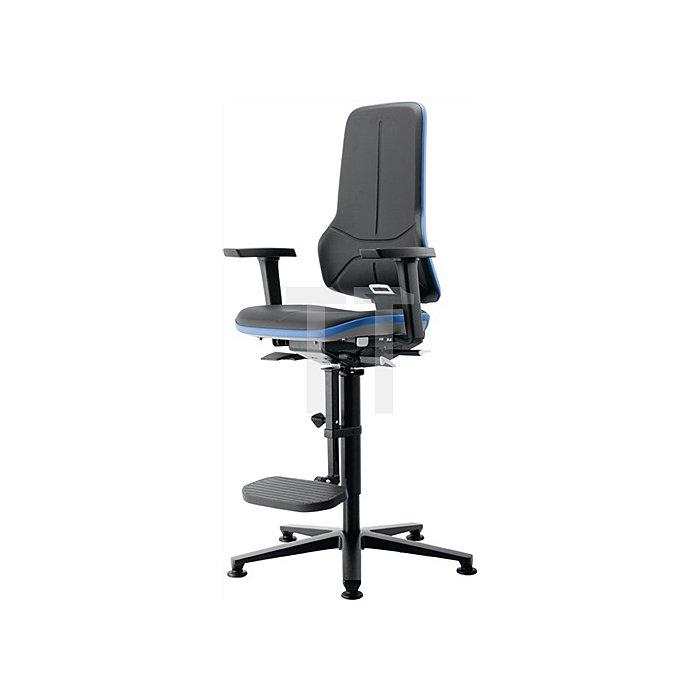 Arbeitsdrehstuhl Neon m.Gleiter/Aufstiegshilfe blau Sitz-H590-870 Permanentk.