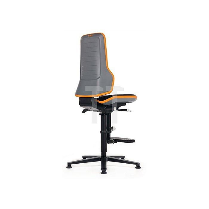 Arbeitsdrehstuhl Neon m.Gleiter/Aufstiegshilfe orange Sitz-H590-870 Permanentk.