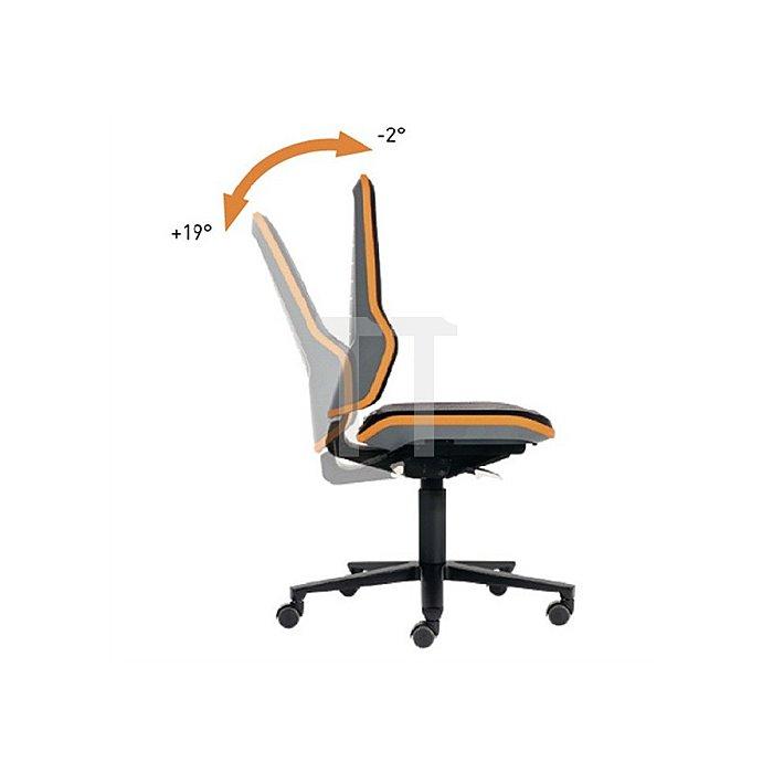 Arbeitsdrehstuhl Neon m.Rollen orange Sitz-H450-620mm Permanentkontakt