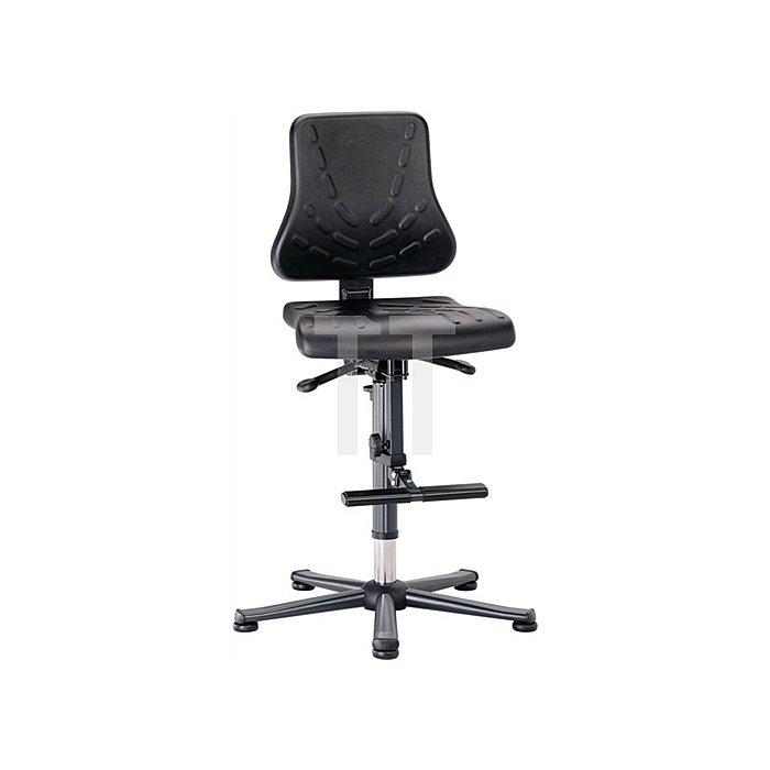 Arbeitsdrehstuhl Solitec m.Gleitern,Aufstiegshilfe Kunstleder Sitz-H.600-875mm