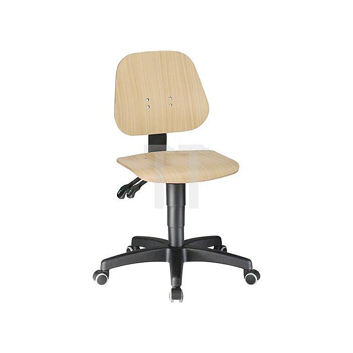 Arbeitsdrehstuhl Unitec mit Rollen Buche Sitz-H.440-620mm BIMOS