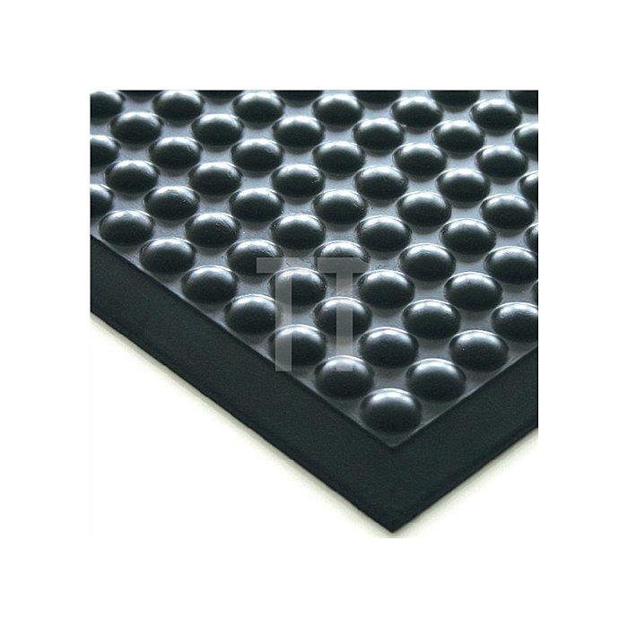 Arbeitsplatz-Bodenbelag B.600xL.900mm schwarz PU Stärke 15mm schwer entflammbar