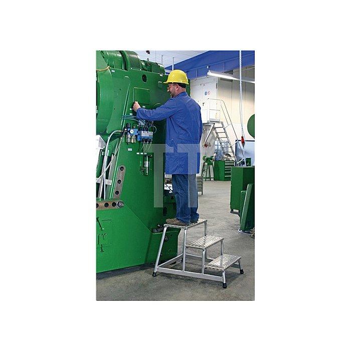 Arbeitspodest 3 Stufen Podest-H.600mm Alu.-Riffelblech
