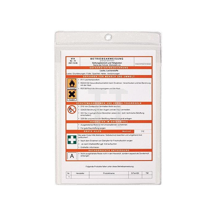 Aushangtasche DIN A4 mit Öse transparent dokumentenecht PP-Folie 10 St./VE