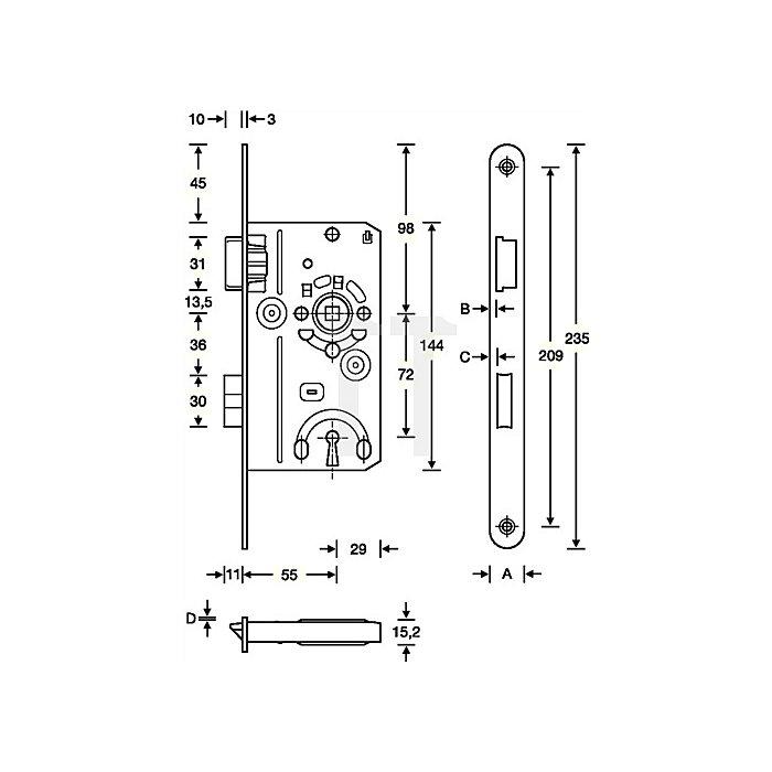Badezellen-Einsteckschloss DIN18251-1 Kl.1 Bad DIN li.Dorn 55mm Entf.78mm FR
