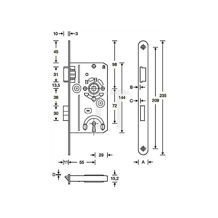 Badezellen-Einsteckschloss DIN18251-1 Kl.1 Bad DIN re.Dorn 55mm Entf.78mm FR