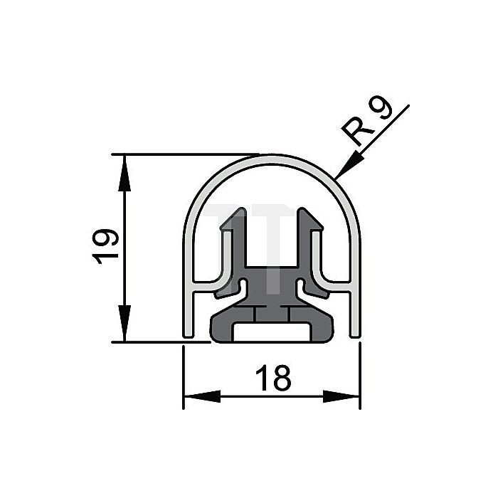 Bandseiten-Schutzprofil BU-18K L. 1355mm f. Banddurchmesser 18mm Profil