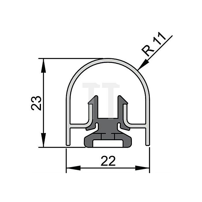 Bandseiten-Schutzprofil BU-22K Länge 1355mm für Banddurchmesser 22mm Profil