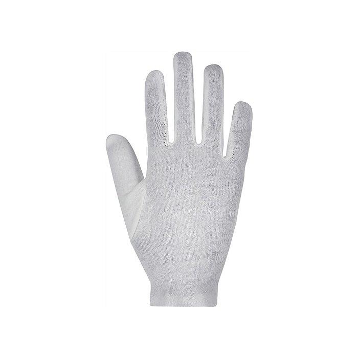 Baumwoll-Trikothandschuh Gr.8, weiss gebleicht, mit Schichtel, Premiumqualität