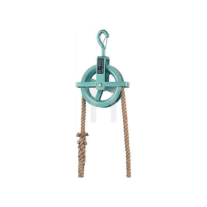 Baurolle Seilrad 190mm Ø mit Hakensicherung und Kreuzbügel für Seil bis 28mm Ø