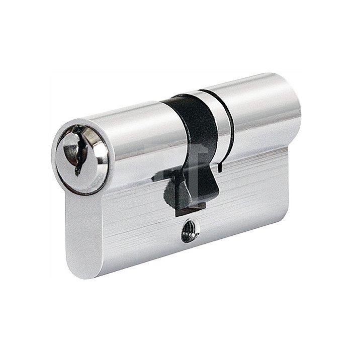 Bauzylinder nach EN1303 5 Stifte L.30/30mm 3 Schlüssel Ms.matt vern. gleichschl.