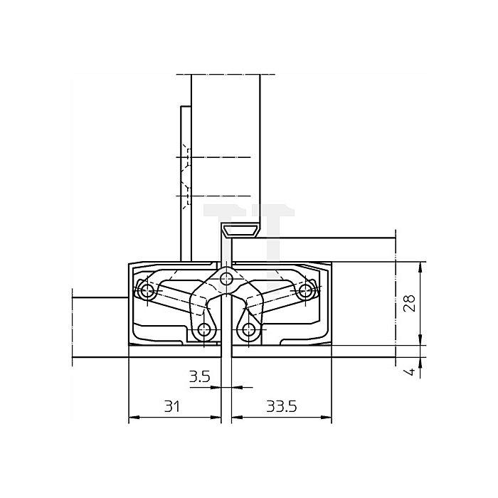 Befestigungsplatte TE 340 3D FZ für Futterzargen verzinkt