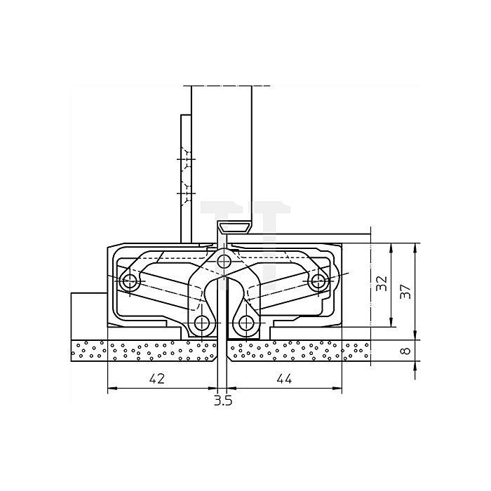 Befestigungsplatte TE 540 3D FZ für Futterzargen verzinkt
