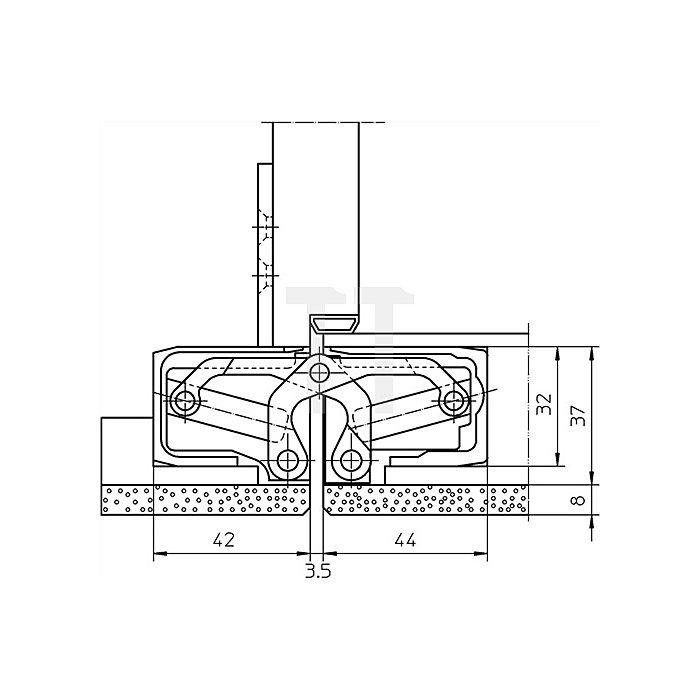 Befestigungsplatte TE 640 3D FZ für Futterzargen verzinkt