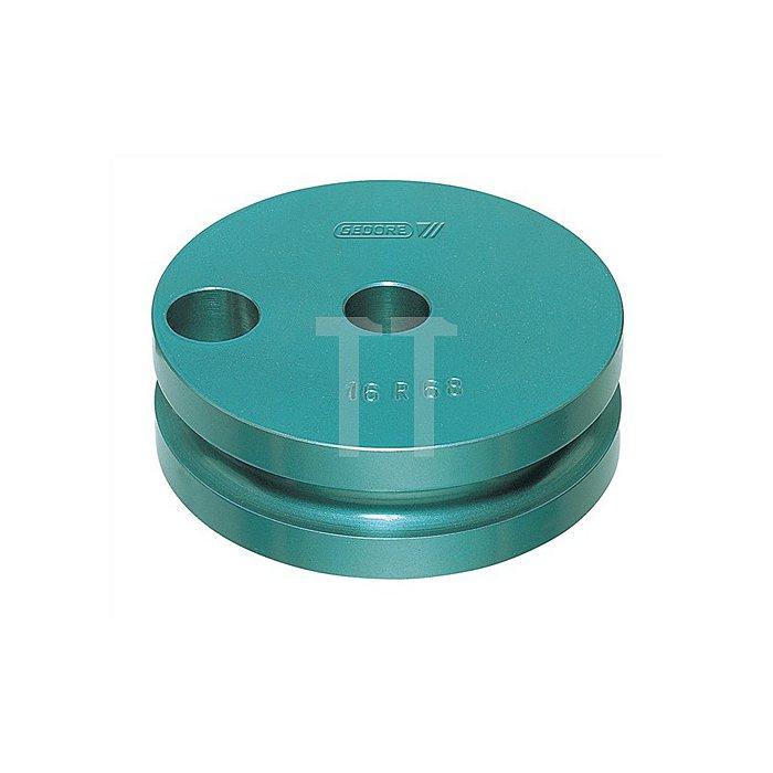Biegesegment f.Rohre 19mm m.Gleitschiene, blau einbrennlackiert r=68mm b.180Grad