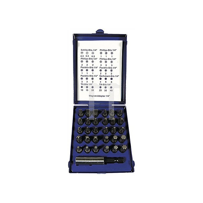 Bit-Sortiment 31tlg. Schlitz/PH/PZD/TX/6 KT Bith.m. Magnet in Stahlblechkassette