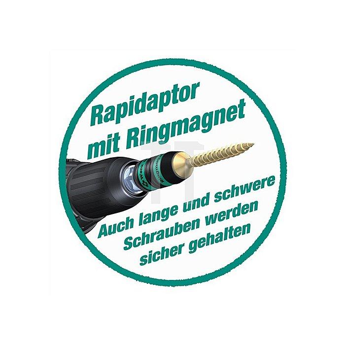 Bithalter L.57mm 1/4Zoll f.Bits C6,3 +E6,3 Ringmagnet Rapidaptor 887/4 RR SB