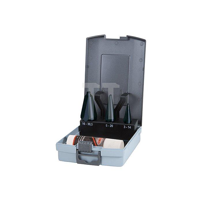 Blechschälbohrer-Satz HSS TiAlN, geschliffen in Kunststoffkassette (ABS)