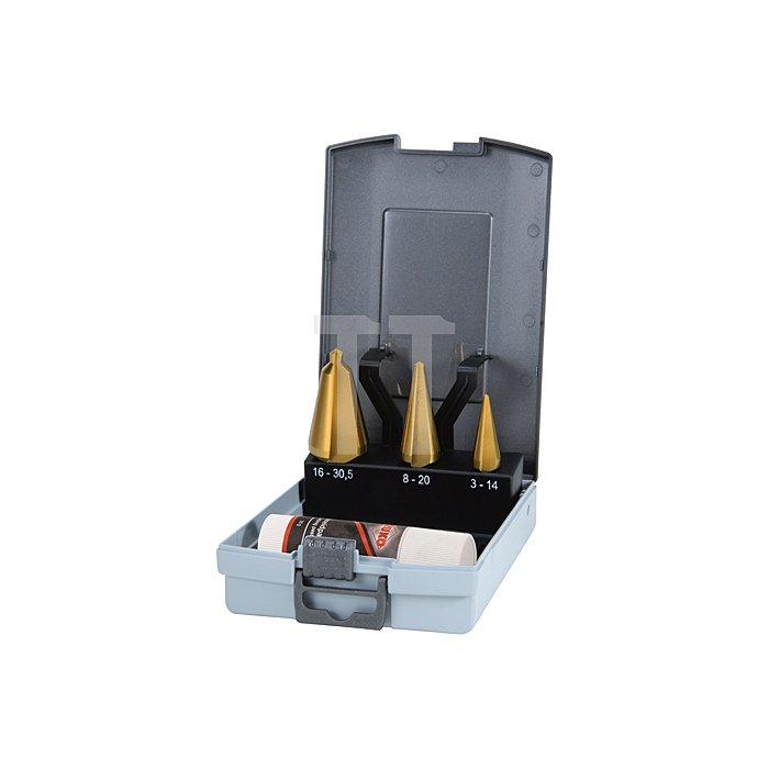 Blechschälbohrer-Satz HSS-TiN, geschliffen in Kunststoffkassette (ABS)
