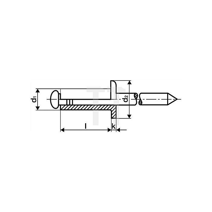 Blindniet Alu./Stahl 4x16mm dxl f.10,5-12,5mm GESIPA Flachrundkopf