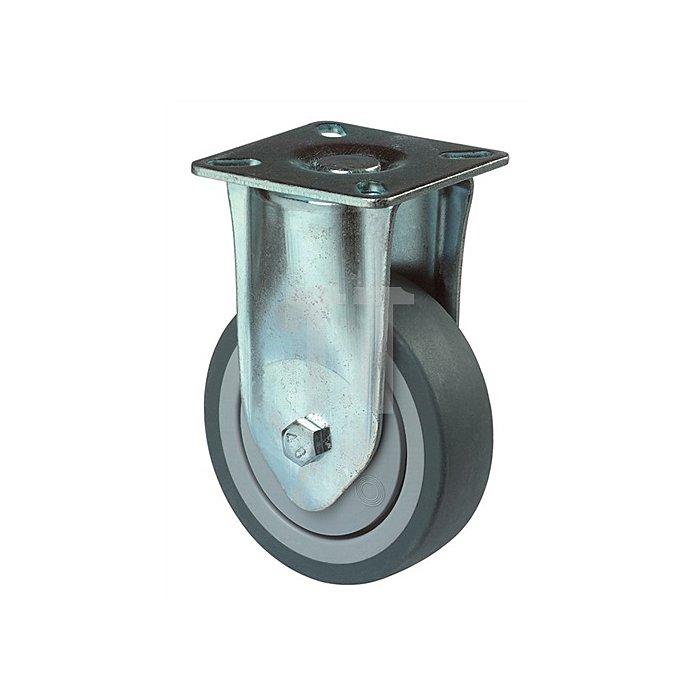 Bockrolle A85.1 Durchmesser 125mm Tragfähigkeit 100kg Vollgummireifen blaugrau