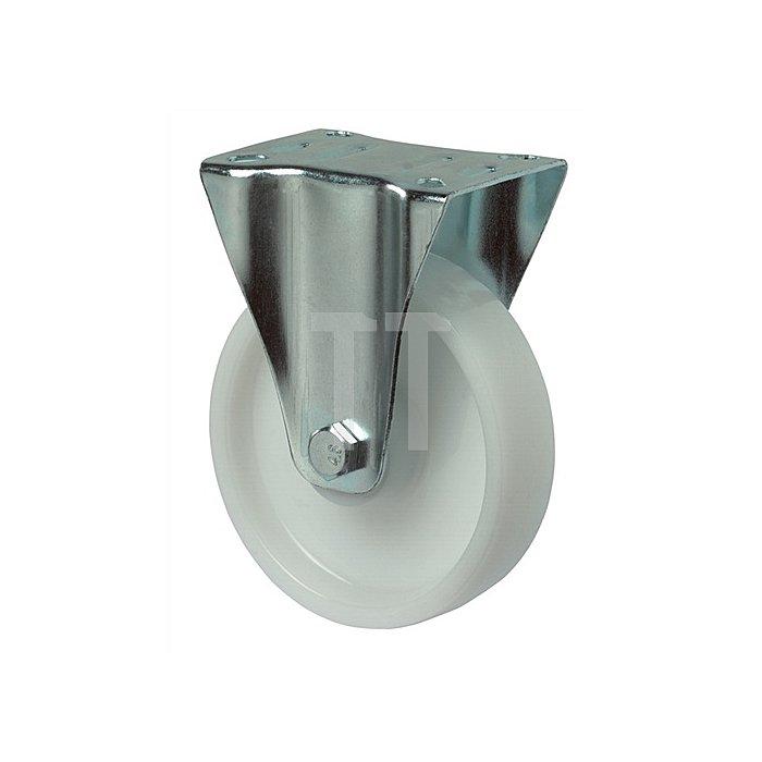 Bockrolle B10 D.200mm Trgf.300kg Ku.-Rad weiss Platte 135x110mm