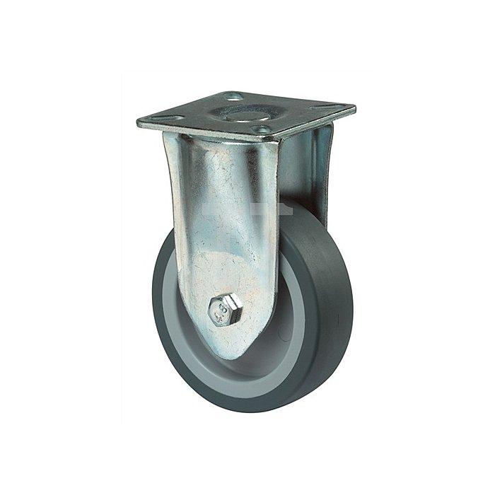 Bockrolle D.100mm Trgf.65kg Vollgummirad blaugrau Platte 60x60mm