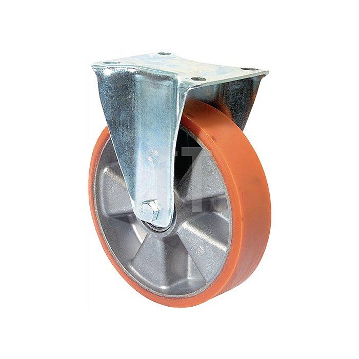 Bockrolle D.150mm Trgf.550kg Guß-PU-bandage Platte 138x110mm