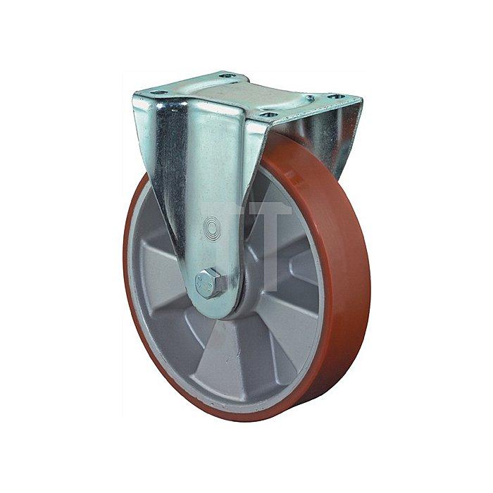 Bockrolle L610.B90.250 D.250mm Trgf.1000kg Platte 135x110mm Rad Alu./Guss-PUR 95