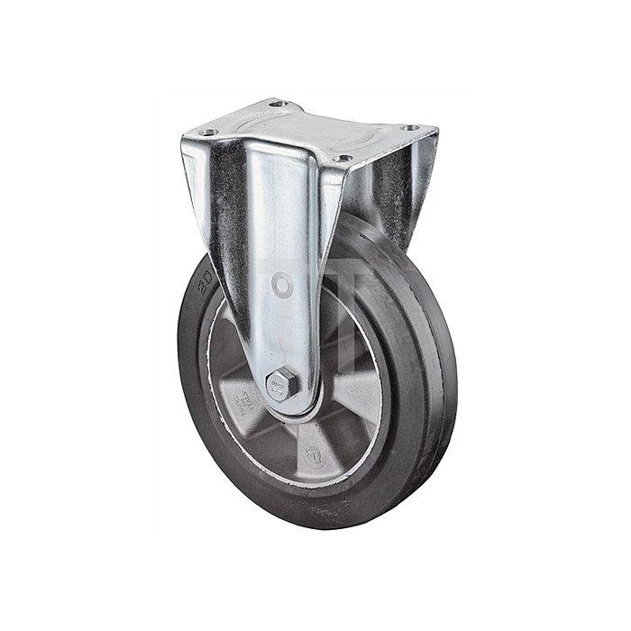 Bockrolle N100 D.200mm Trgf.450kg Elastic-Vollgummireifen Platte 138x110mm