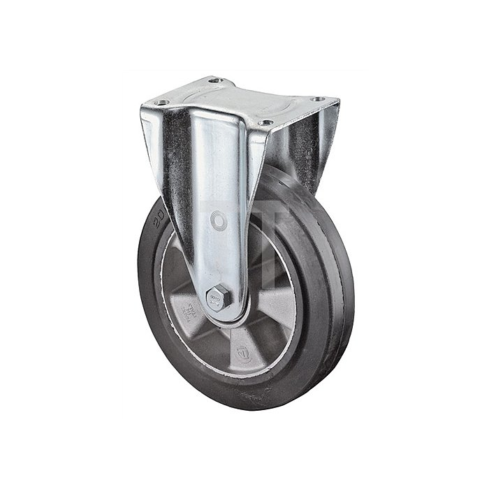 Bockrolle N100 D.250mm Trgf.550kg Elastic-Vollgummireifen Platte 138x110mm