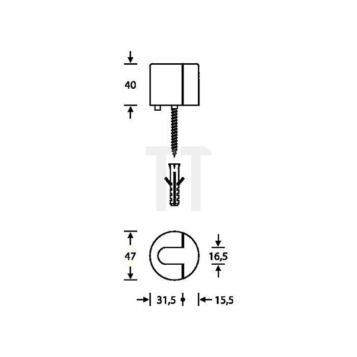 Bodentürpuffer 3817 D.47mm H.40mm Alu.F1 naturfarben