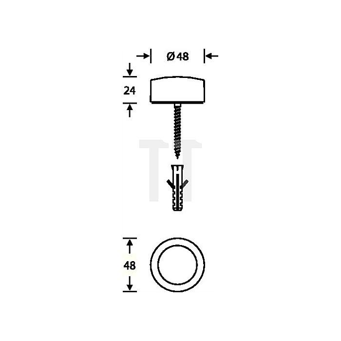 Bodentürpuffer 3878 D.48mm H.24mm VA feinmatt
