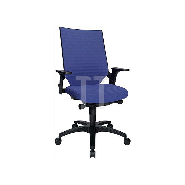 Bürodrehstuhl blau m.Autosynchrontechnik Sitz-H.420-550mm mit Armlehnen