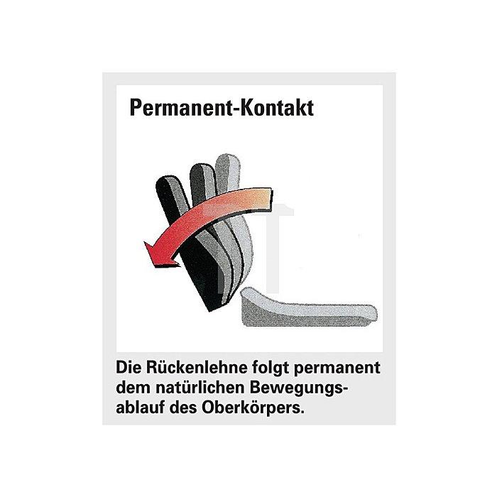 Bürodrehstuhl schwarz Lehnen-H.580 Sitz-H.420-550 Permanent o.Armlehnen