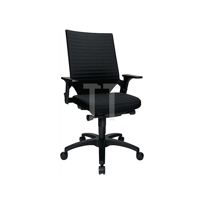 Bürodrehstuhl schwarz m. Autosynchrontechnik Sitz-H.420-550mm mit Armlehnen