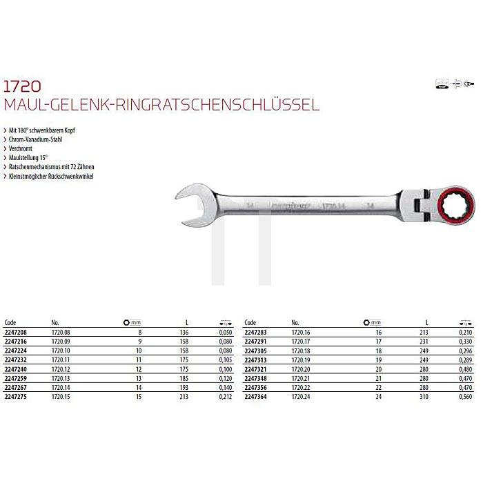 CAROLUS Maul-Gelenk-Ringratschenschlüssel 16 mm