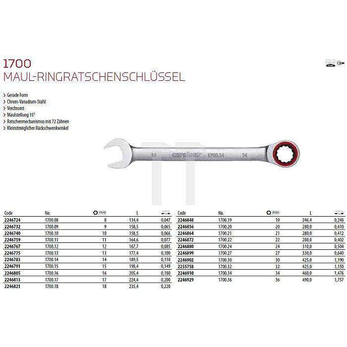 CAROLUS Maul-Ringratschenschlüssel 12 mm, gerade Form