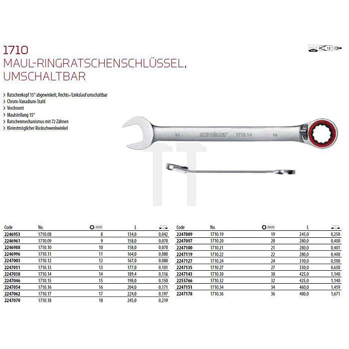 CAROLUS Maul-Ringratschenschlüssel 30 mm, 15° abgewinkelt, umschaltbar